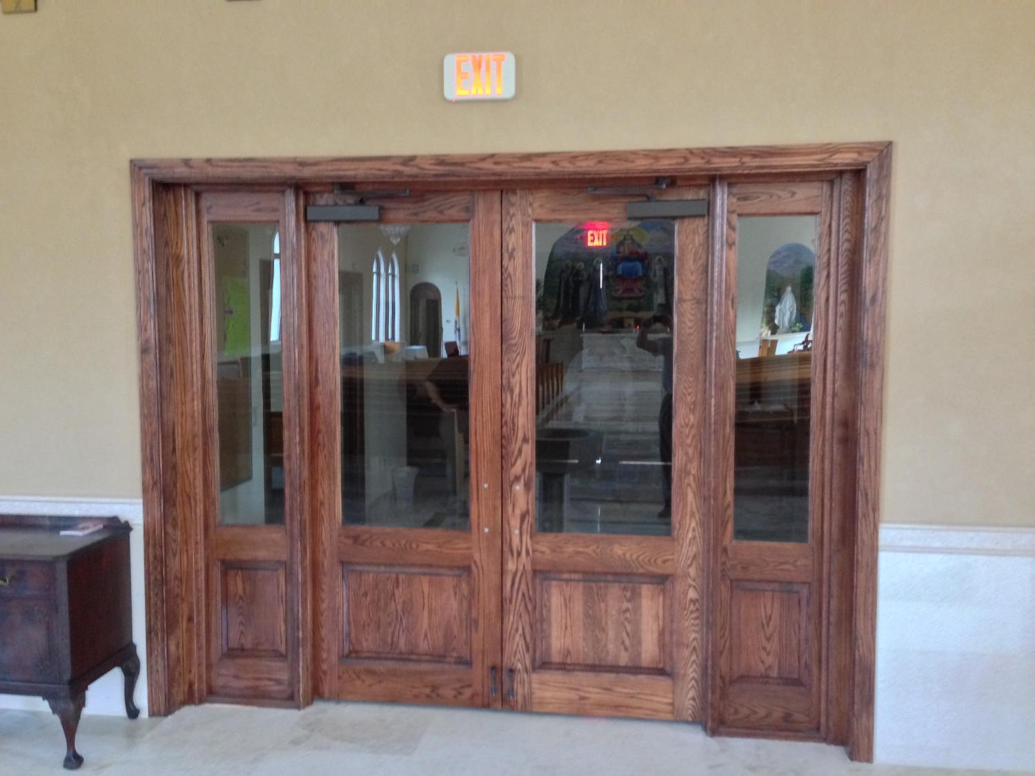 Custom Oak Entry doors with sidelites